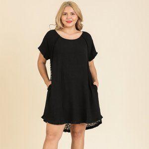 Umgee Plus Black Dalmatian Print Back Dress